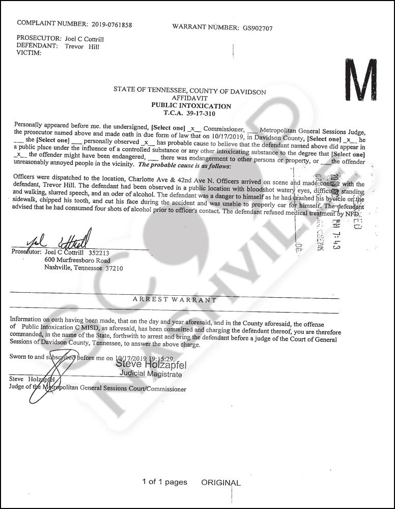 Trevor Hill Public Intoxication Arrest Affidavit