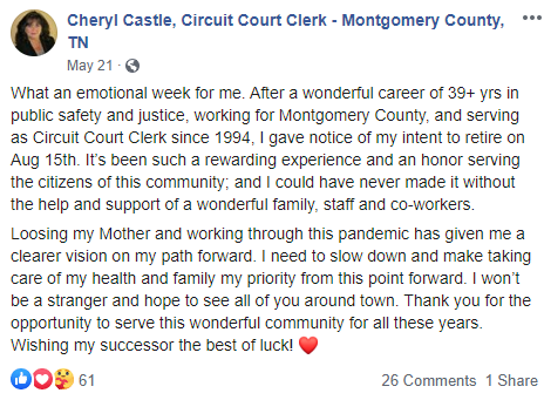 Cheryl Castle Public Resignation Post (Source Facebook)