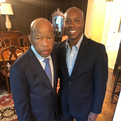 Fisk University President Dr. Kevin Rome, Sr. with the late U.S. Representative John Lewis (Source Facebook)
