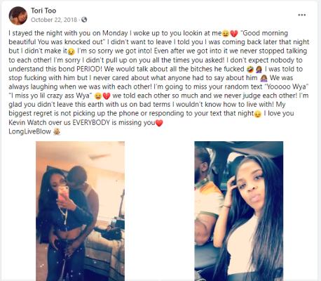 Tori Keeton post about Kevin Stewart's murder (Source Facebook)